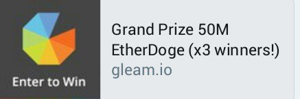 Grand Prize 50M EtherDoge (x3 winners!)  https:// wn.nr/LsPtZR  &nbsp;   R/T #crypto  #bitcoin #ethereum #altcoin #ICOs $CIF #RT #crypto #ether #ICO<br>http://pic.twitter.com/ZGIheKCso0