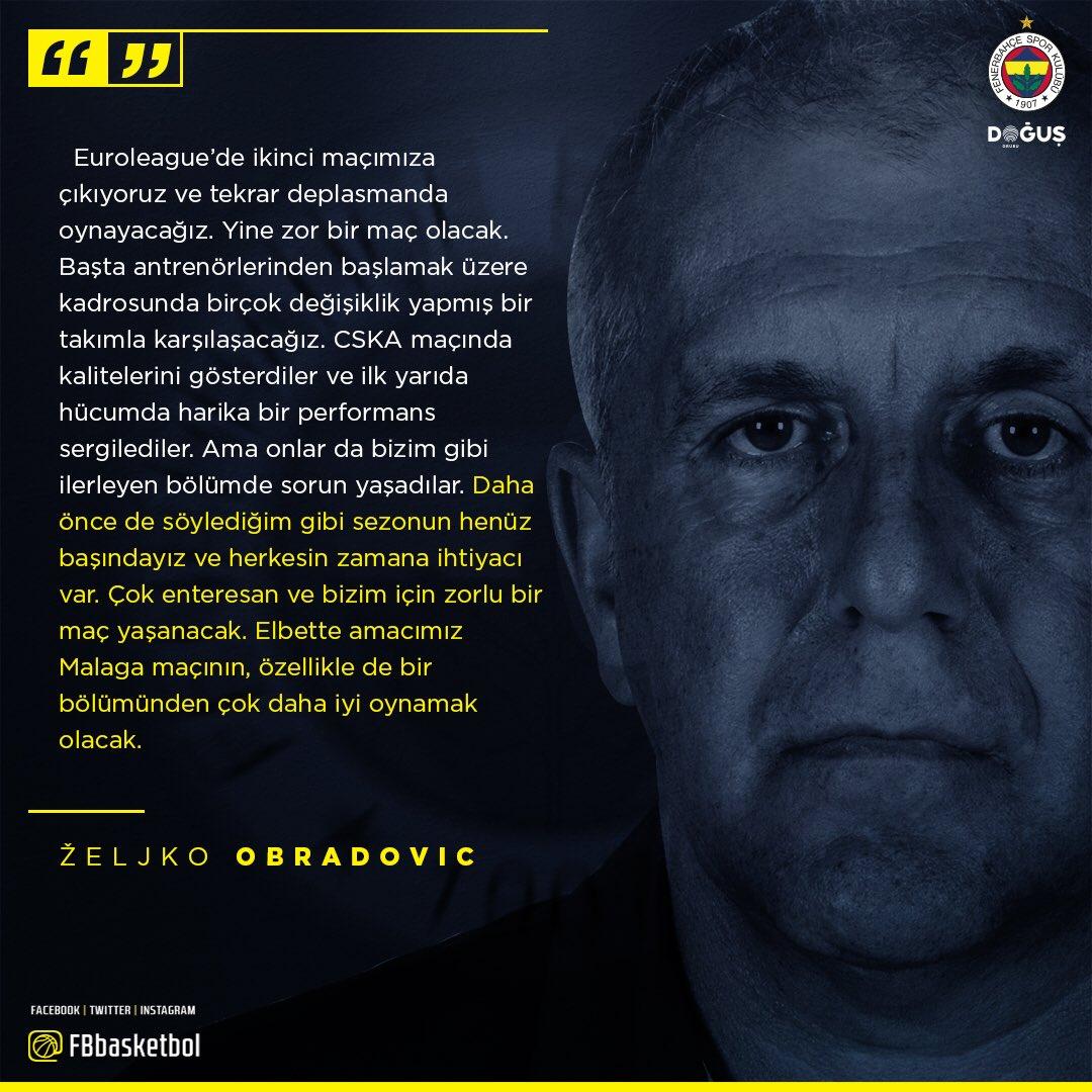 ‼️ Zeljko Obradovic'in maç önü görüşleri! #NeverEnough #GameON 👇 https...