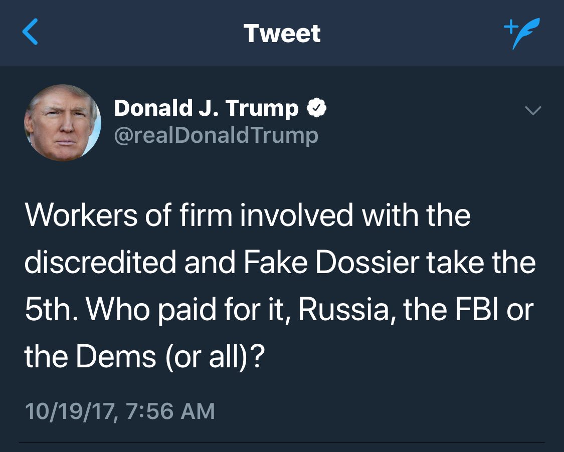 Once again, @realDonaldTrump cannot leave the Steele Dossier alone. Has to keep bringing it up even when opponents aren't. #Crazy <br>http://pic.twitter.com/Y98GzJbOSP