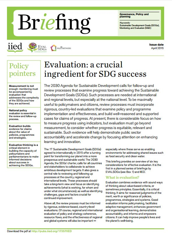 Interested in effective #evaluation for the #SDGs? We&#39;ve got SEVEN briefings exploring this issue:  https://www. iied.org/effective-eval uation-for-sustainable-development-goals &nbsp; …  #NEC2017Istanbul<br>http://pic.twitter.com/bjy4gIEiFv