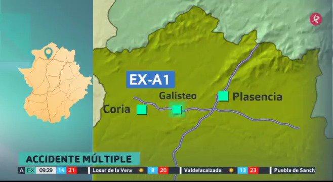 📌#ÚLTIMAHORA | Al menos 30 vehículos afectados en el accidente múltiple de #Galisteo. Los servicios de emergencia ya están en la zona. #EXN https://t.co/6e24EKD536