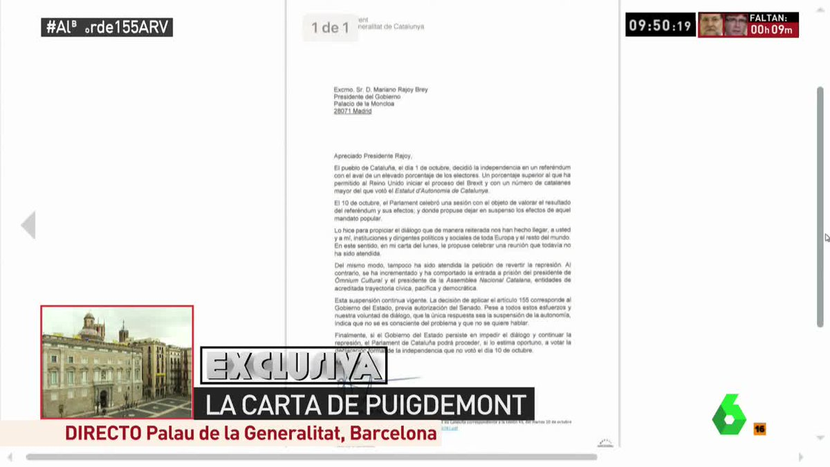 🔴 Tenemos la carta de Puigdemont a Rajoy en exclusiva https://t.co/aIY...