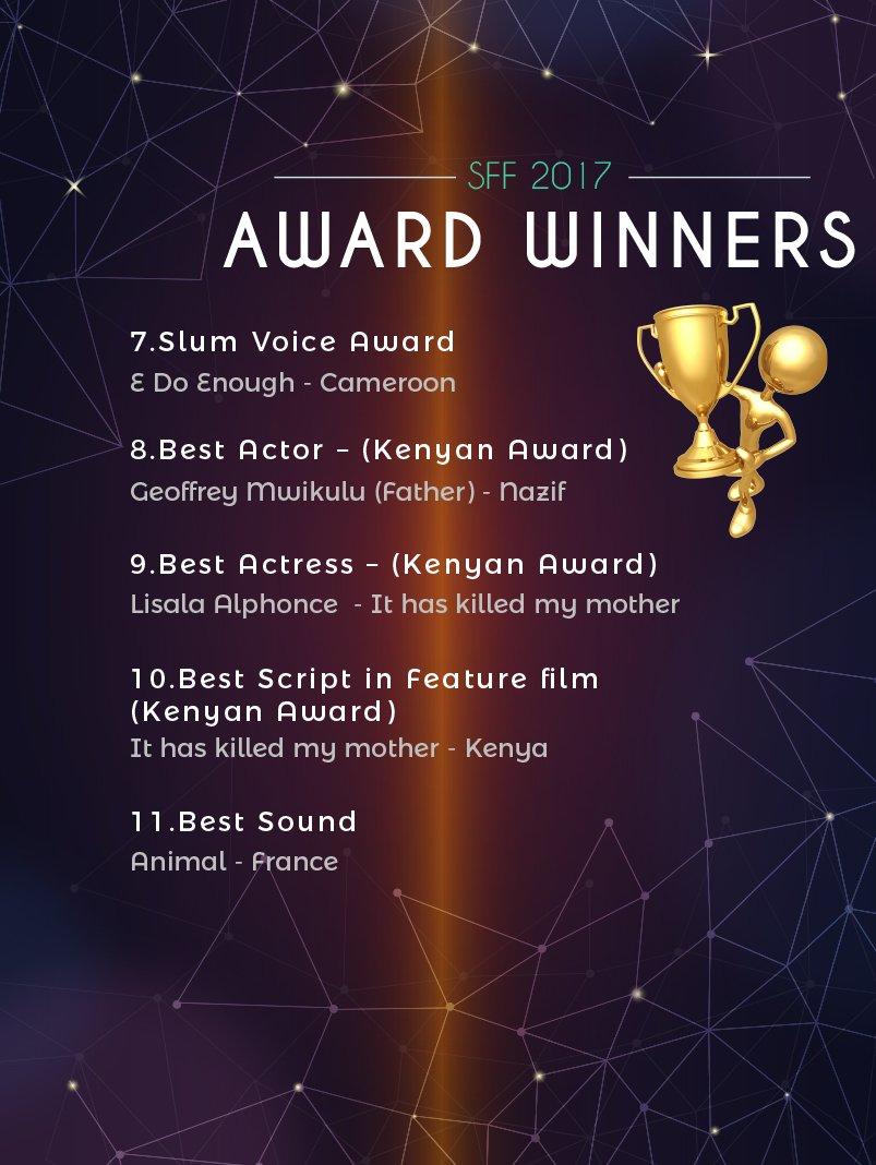 SFF 2017 Award Winners, congratulations...