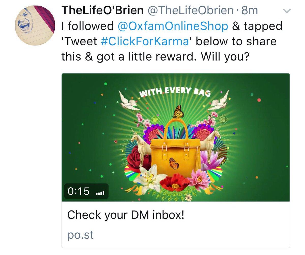 Nice #SocialMediaMarketing idea from @oxfamonlineshop to get more #followers. Good karma. Good campaign! [#smm #DigitalMarketing #charity]<br>http://pic.twitter.com/1Dv0St8UPM