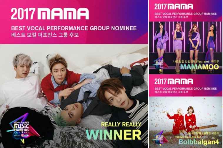 Here are the nominees for Best Vocal Performance Group for the #2017MAMA !  @MnetMAMA #BTOB #Highlight #WINNER #MAMAMOO #BOLBBALGAN4 <br>http://pic.twitter.com/keFLoJeHNz