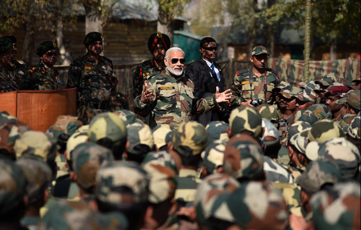 PM wears uniform, celebrates Diwali with jawans of Indian Army and BSF in Gurez Valley