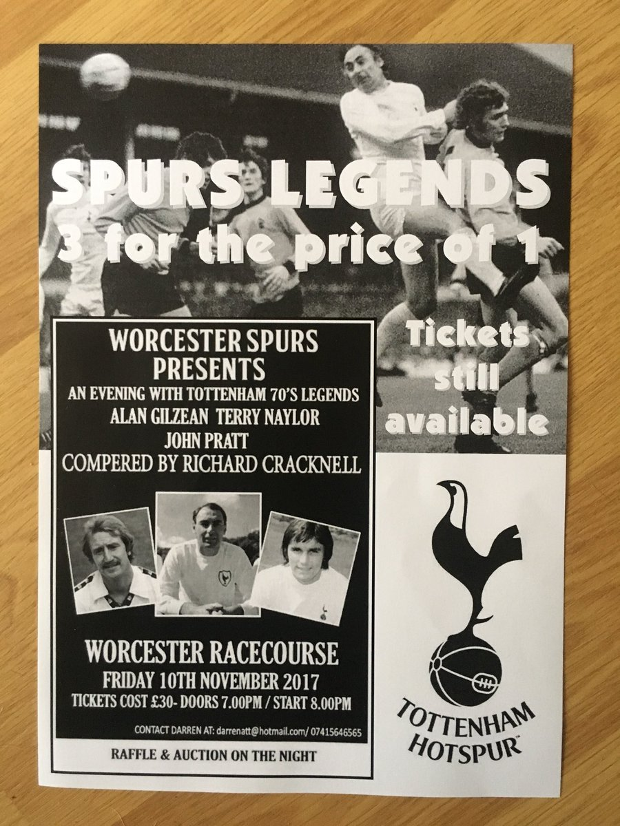 3 weeks to go amazing trio of spurs legends with compere @MrCracknell contact for details #Worcester #worcestershire #coys #thfc<br>http://pic.twitter.com/DYAbQy3pDK