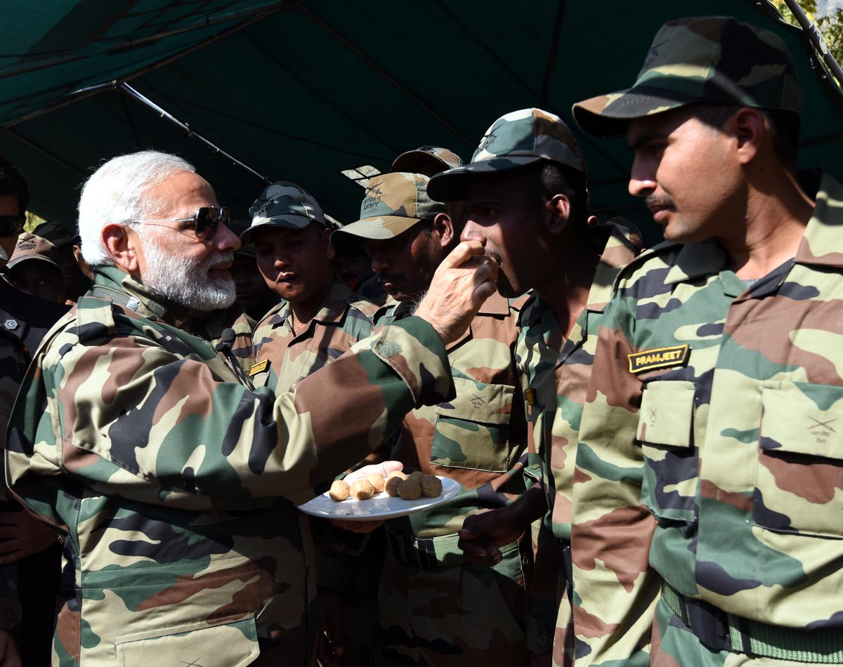 Prime Minister Narendra Modi celebrates Diwali with jawans of Indian Army and BSF, in Gurez Valley, J&K #DiwaliWithTroops