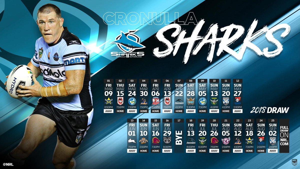 2018 #NRLDraw: @Cronulla_Sharks   Full Draw: https://t.co/alA465N7MC...