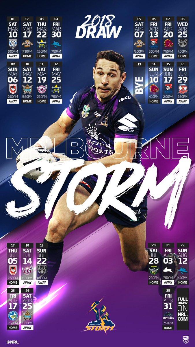 2018 #NRLDraw: @storm   Full Draw: https://t.co/alA465N7MC  #NRL https...