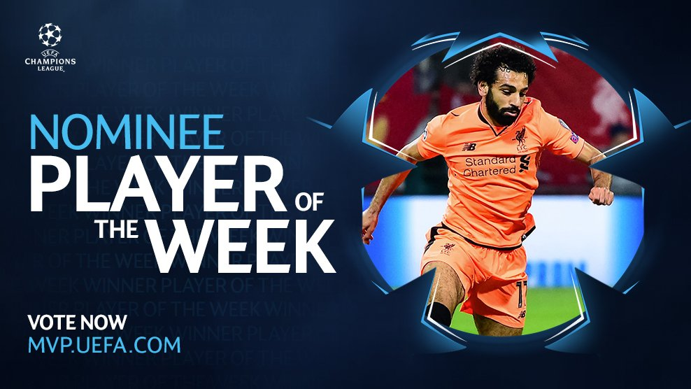 Mohamed Salah has been nominated for the #UCL Player of the Week award!   Vote for him:  http:// mvp.uefa.com  &nbsp;  <br>http://pic.twitter.com/YElxS2YLDD
