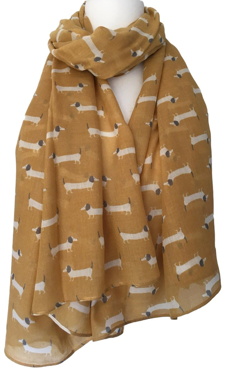Dachshund Scarf Mustard Yellow Sausage Dog Shawl Ladies Doxie Cute Dogs Wrap New
