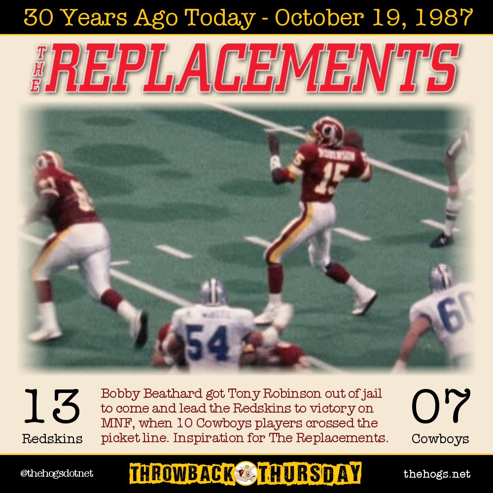 The #Redskins replacements game was 30 yrs ago! Please like or RT if you watched it live! #httr #ThrowbackThursday https://t.co/gZ58QT5Z3U