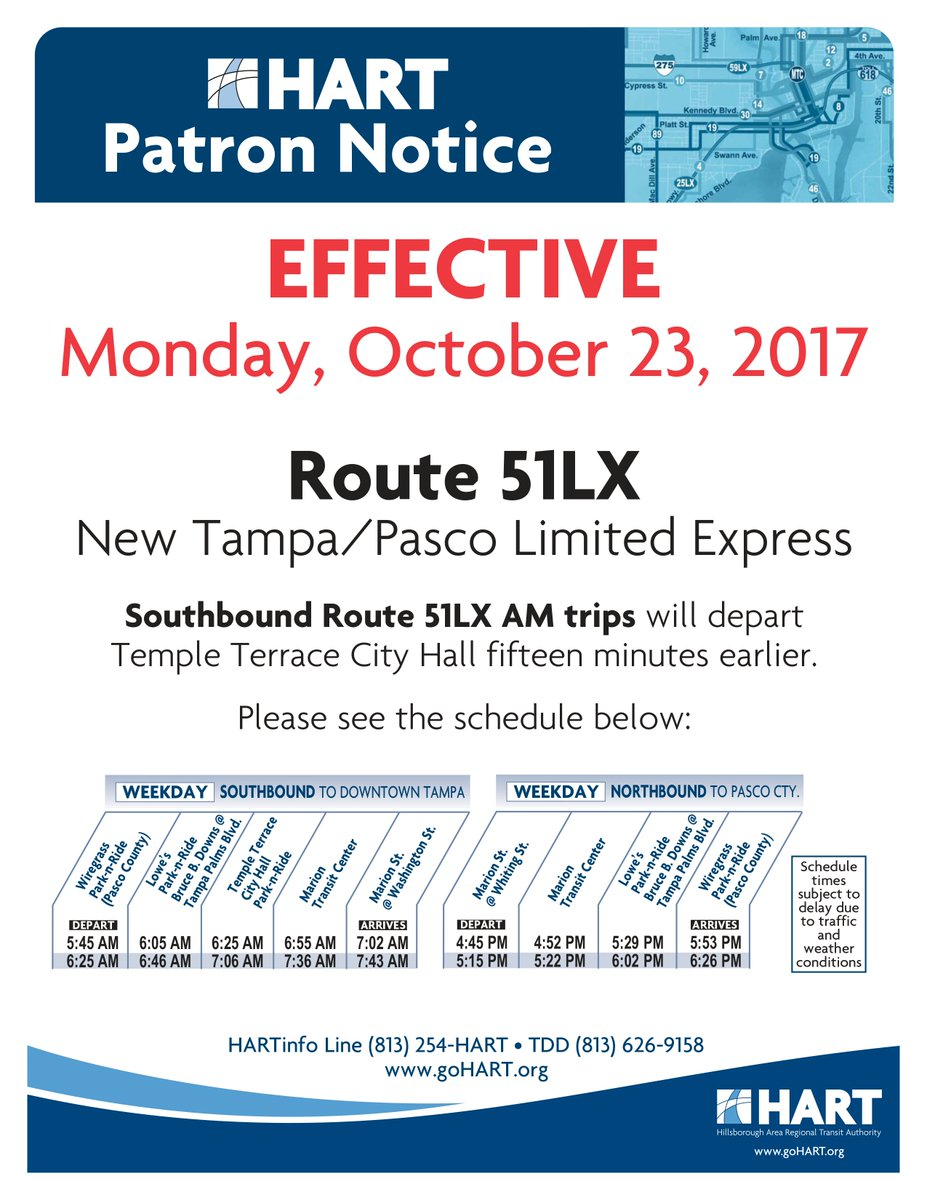 """hart on twitter: """"service alert: route 51lx riders - southbound"""