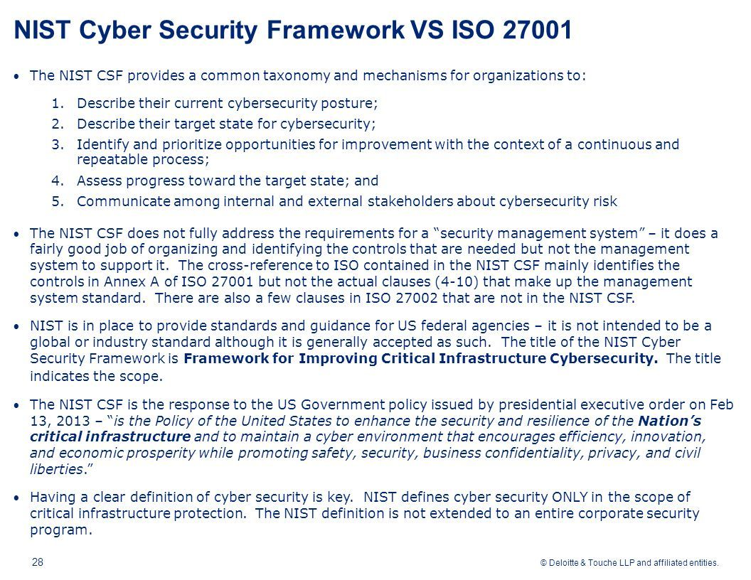 #NIST #cybersecurity framework vs #ISO27001  v/ @Deloitte #Fintech #makeyourownlane #Mpgvip #cryptocurrency #defstar5 #infosec #AI #chatbot<br>http://pic.twitter.com/avIJBCmrty