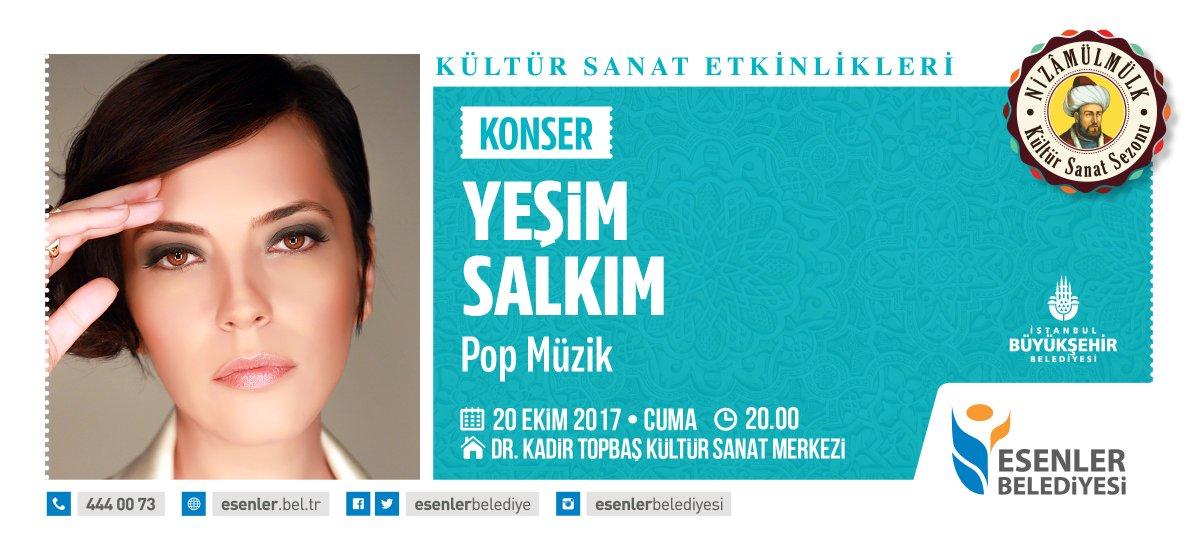 Yeşim Salkım konseri 20 Ekim Cuma 20.00 Dr. Kadir Topbaş Kültür Sanat...