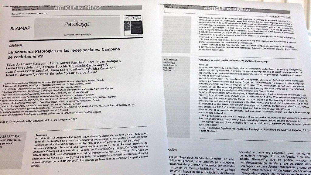 Thank U, guys!!!  #AnatomíaPatológica en las #RedesSociales. #Pathology in #SocialMedia.  http:// m.elsevier.es/es-revista-rev ista-espanola-patologia-297-avance-resumen-la-anatomia-patologica-las-redes-S1699885517300661 &nbsp; …  #IWantYouForSEAP #SoMe  <br>http://pic.twitter.com/gvULqGDPSe
