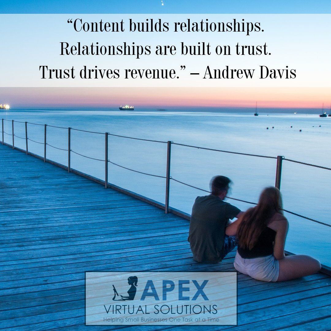 Content builds relationships. Relationships are built on trust. Trust drives revenue. - Andrew Davis #smallbusiness #marketing #biztalk <br>http://pic.twitter.com/9itmOCzgIz