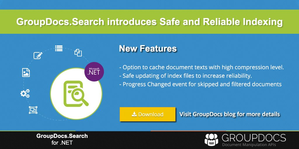 Safe &amp; Reliable #Indexing in GroupDocs #Search #API for #dotnet  https:// goo.gl/MfLwHd  &nbsp;   Visit #GroupDocs blog for more detailed improvements<br>http://pic.twitter.com/CAHRXhiuvS
