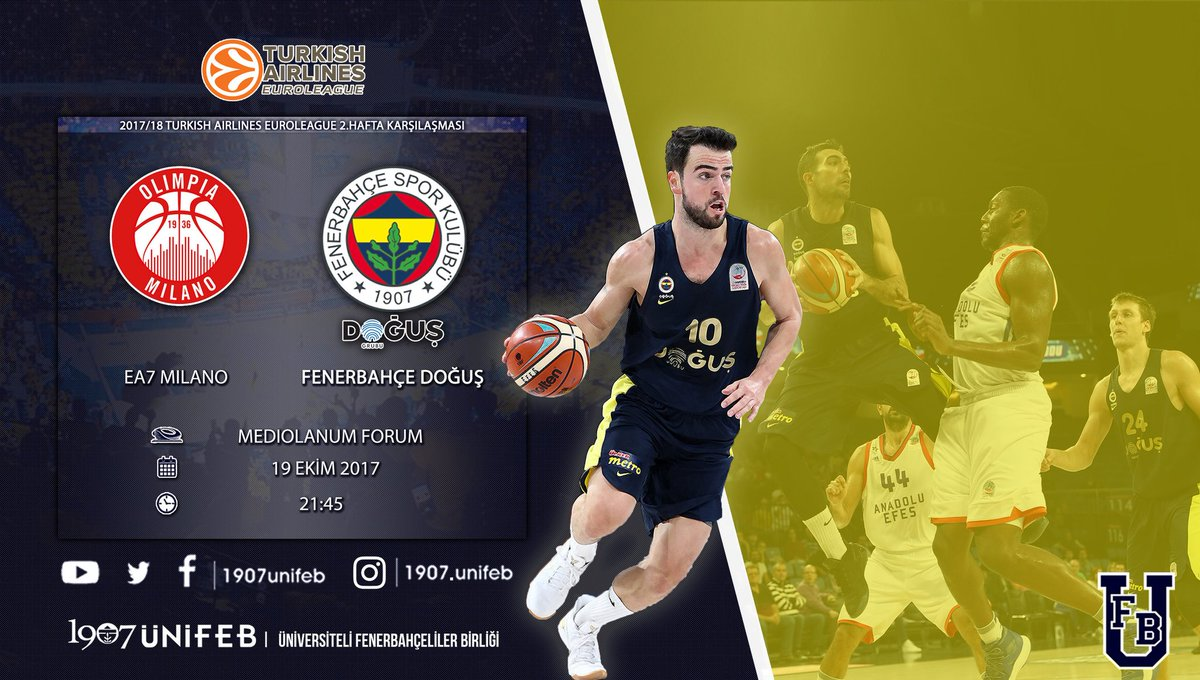 🏀 EA7 Olimpia Milano - Fenerbahçe Doğuş 📍 Mediolanum Forum 🕖 21:45 🗓 1...