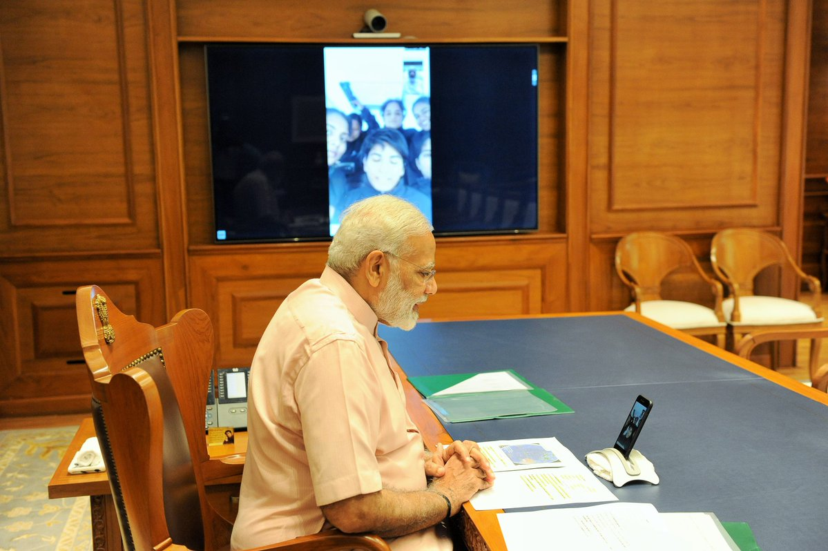 PM Narendra Modi conveys #Diwali greetings to the crew of #INSVTarini via video call.
