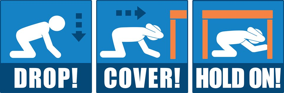 Drop! Cover! HOLD ON! Know what to do during an earthquake w/ these sa...