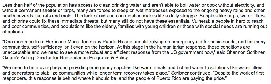 Day 29: A shocking assessment from @Oxfam: 'life in Puerto Rico is untenable.' Here's what everyday reality is like for people there: