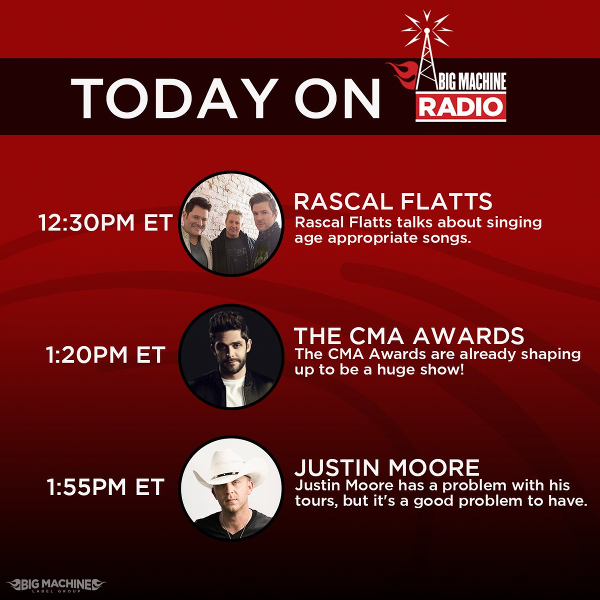 #HappyThursday! Make sure you listen to @BigMachine Radio all day! Take a look at who we&#39;re talking to...  http:// smarturl.it/BMRadio  &nbsp;  <br>http://pic.twitter.com/jg2Ywm0msi