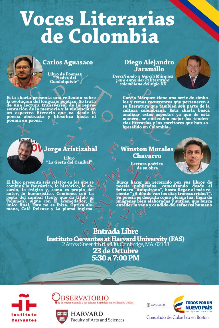 Limited seating! &quot;Conversations in the Observatorio: Voces literarias de #Colombia.&quot; Join us to enjoy the powerful and expressive voice of these four authors. Monday, October 23rd. 5.30pm <br>http://pic.twitter.com/GQkPb9GHtq
