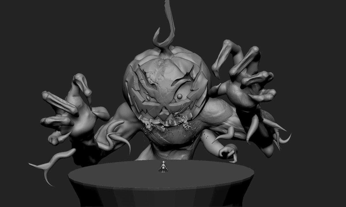 Also doing @UnicornDevGames&#39;s discord challenge. Big spooky pumpkin boss! #zbrush #Halloween #spooky #pumpkin #gameart #3dart #3dcharacter<br>http://pic.twitter.com/mqANiXmnEa