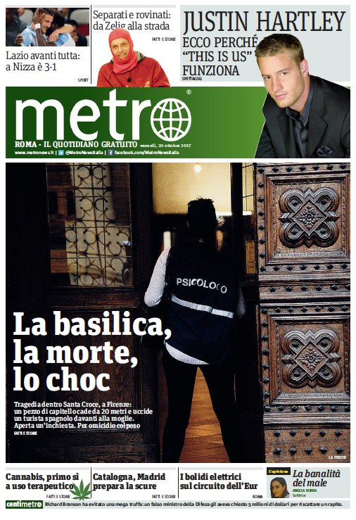 La #primapagina di Metro (ed. Roma) di v...