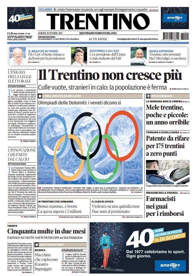 Buongiorno da #Trento con la #primapagin...