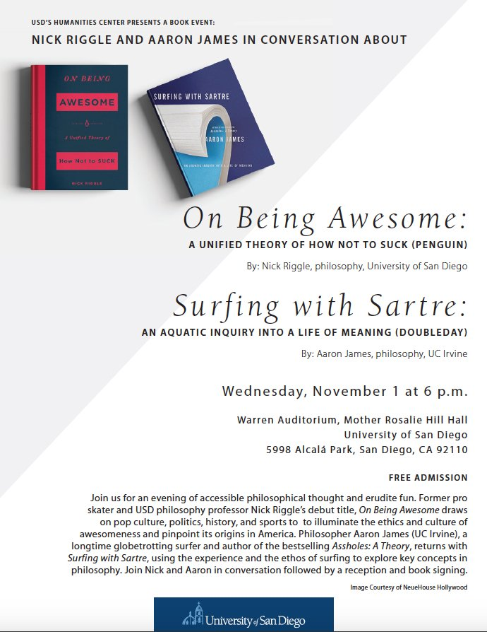 shld be very fun, very #cali eve of philosophy: nov 1 6pm @uofsandiego w @nickriggle &amp; aaron james  https://www. facebook.com/events/3734418 63088625 &nbsp; … <br>http://pic.twitter.com/uVyYCNxmg4