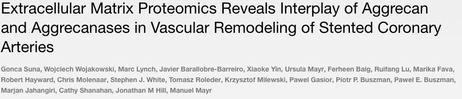 Our latest paper is available now in @circaha https://t.co/mI4jSPbMpn #extracellular #matrix #cardiovascular #proteomics