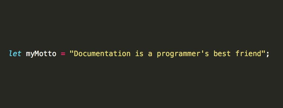 - let myMotto = &quot;Documentation is a programmer&#39;s best friend&quot;; - #programming #javascript #webdesign #nodejs #100daysofcode<br>http://pic.twitter.com/15xC07F94G