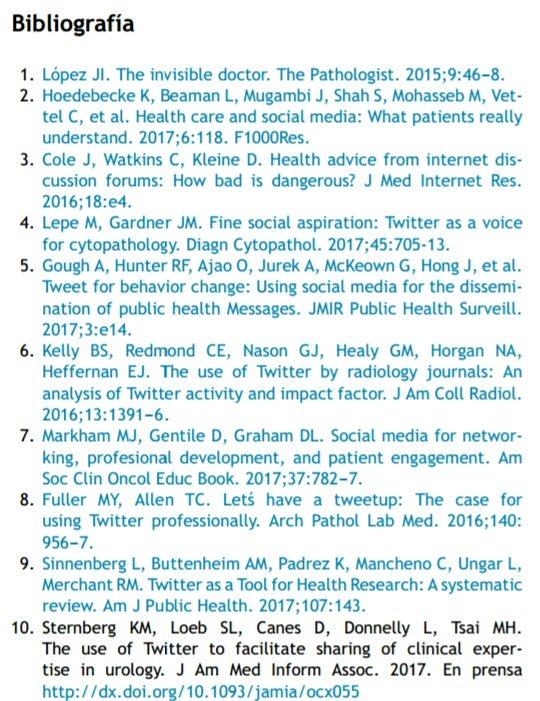 Take a look at our paper in @REP_Patologia about #Pathology &amp; #SocialMedia . Do you need more references?   http://www. elsevier.es/es-revista-rev ista-espanola-patologia-297-avance-la-anatomia-patologica-las-redes-S1699885517300661 &nbsp; …  #SoMe <br>http://pic.twitter.com/u8nvLYkfuH