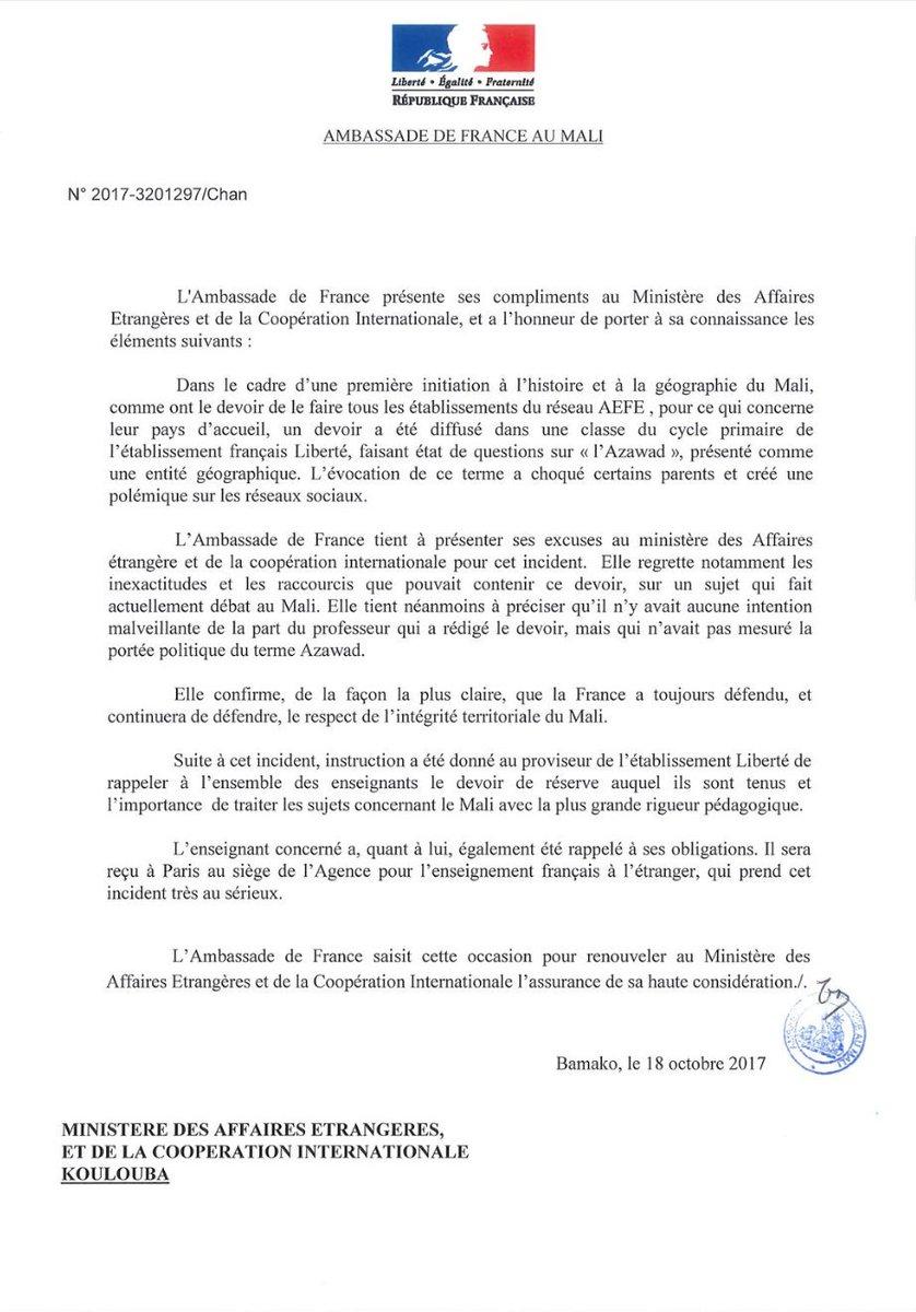 Malijet Les excuses de l'ambassade de France au Mali suite au