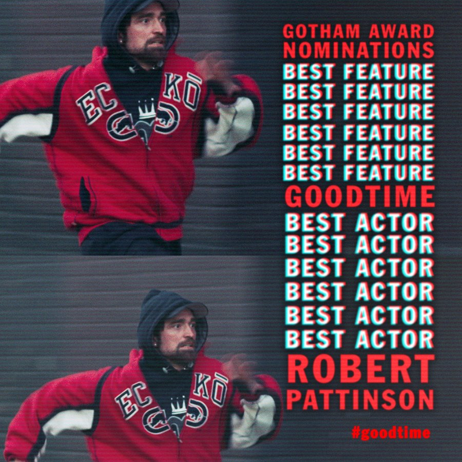 #GoodTime was honored with two @IFPfilm #GothamAward nominations — Best Feature, and Best Actor for Robert Pattinson! @JOSH_BENNY <br>http://pic.twitter.com/rCIQw27nUZ