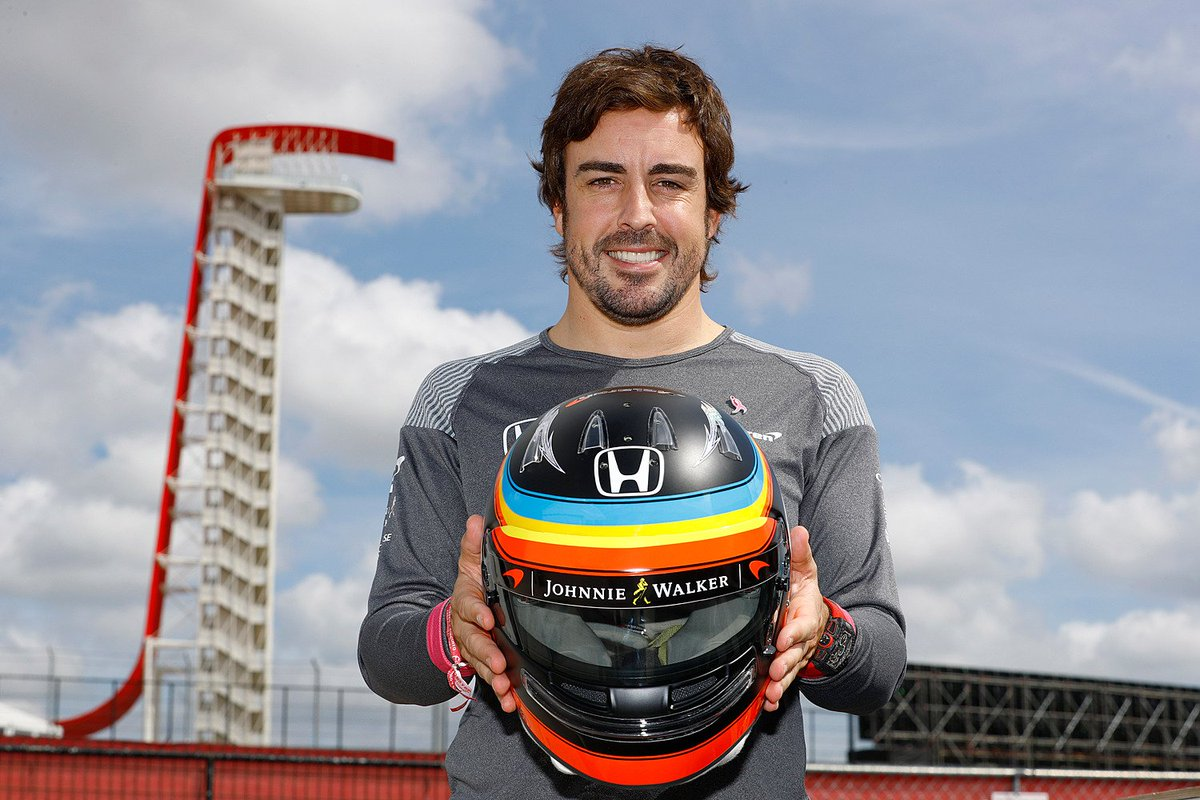 Fernando presents his special #USGP edition helmet - an awesome nod to his @McLarenIndy lid. #F1 #Indy500<br>http://pic.twitter.com/4vlK00t7RA