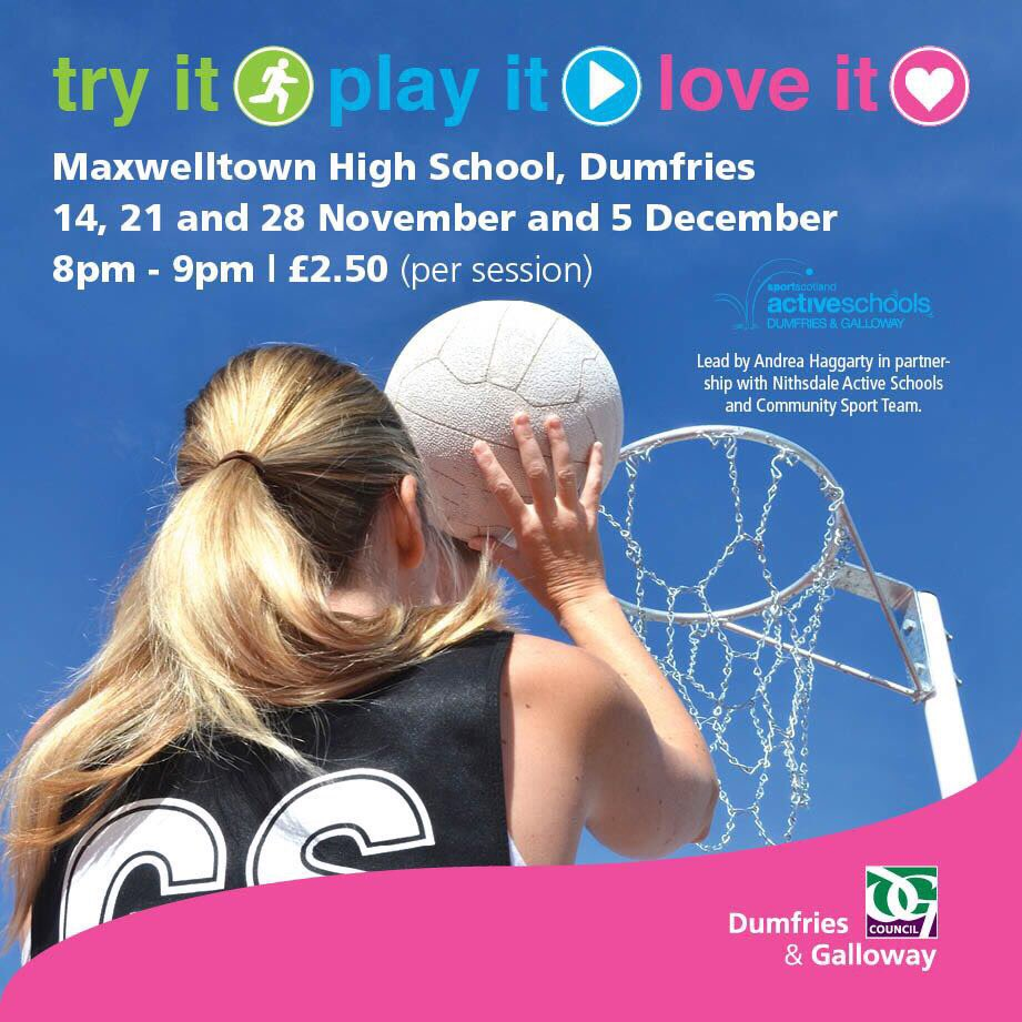 Calling all ladies (16+). Our new block of Try it, Play it, Love it NETBALL is coming in Nov.  No pressure, fun, friendly netball #she #time<br>http://pic.twitter.com/8hJKCpL17E