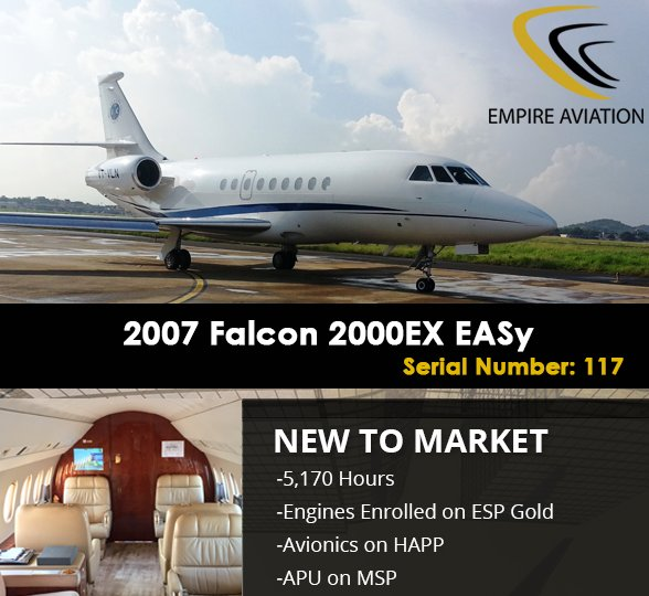 2007 Falcon 2000EX EASy - New to Market available through @FlyEmpire #bizjet #bizav #aircraft4sale Find out more at  http:// ow.ly/614z30fZZEi  &nbsp;  <br>http://pic.twitter.com/QjiaxSyARw
