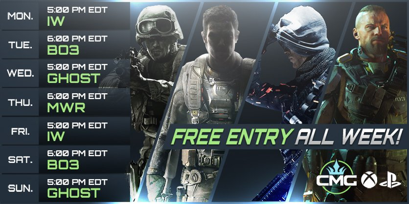 Free Entry Tournaments  Weekly schedule until WWII  Team up and prepare for battle!  Sign up now:  http://www. checkmategaming.com  &nbsp;     #CMG #FREE <br>http://pic.twitter.com/PMfFv2iARZ