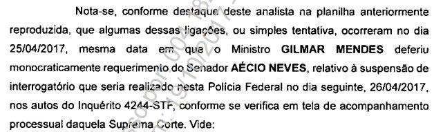PF diz que houve contato entre Aécio e Gilmar em dia de decisão favorável ao tucano em um inquérito no STF