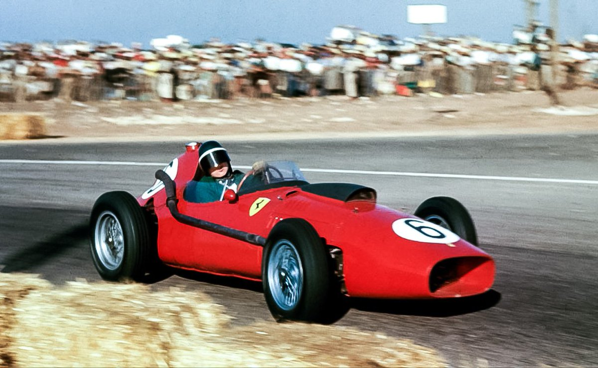 P2 behind title-rival Stirling Moss at Morocco OTDI 1958 was enough to secure Mike Hawthorn his only WDC     #F1 <br>http://pic.twitter.com/rVnVPROVOK