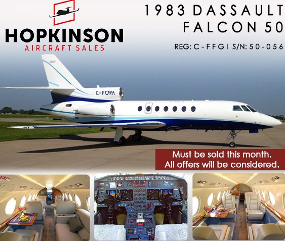Huge Price Reduction - Dassault Falcon 50 at @HopkinsonACSale Must Be Sold This Month!#bizjet #bizav #aircraft4sale  http:// ow.ly/4w4U30fZYZq  &nbsp;  <br>http://pic.twitter.com/4oCC6Rphe7