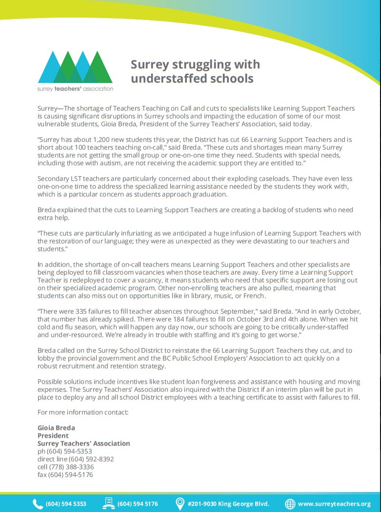 Bctf On Twitter Media Release From Surrey Teachers Re Staffing