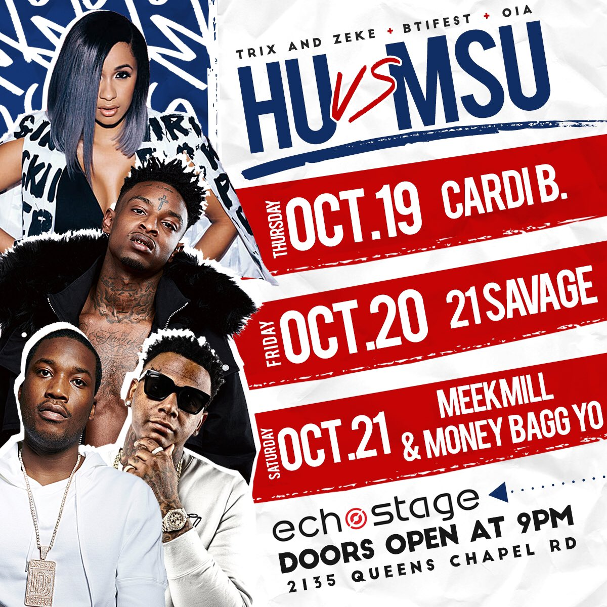 #HUvsMSU Weekend Starts TONIGHT at Echostage in DC w: Cardi B! #MorganState #HowardU<br>http://pic.twitter.com/ByCL3tTDjg