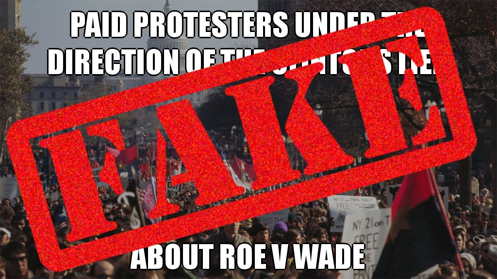No way! Paid protesters under the direction of the Clintons did NOT lie about Roe v Wade #posttruth #busted @NPR @PolitiFact<br>http://pic.twitter.com/wsK5B35tgh