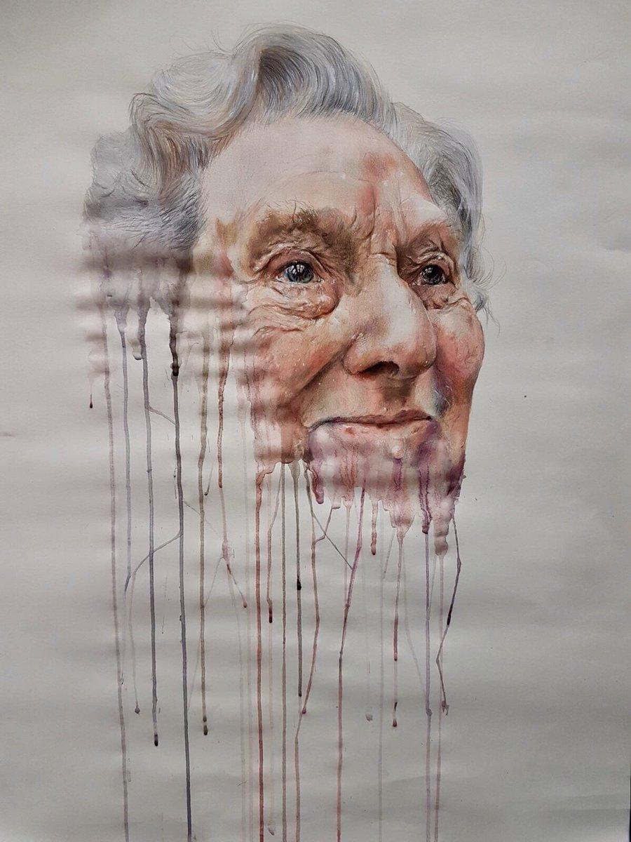 Latest A level piece #AnnemarieBusschers inspired , still work to do , love to hear everyone&#39;s views #art #portrait #drip #pencils <br>http://pic.twitter.com/7INRGbHCOI