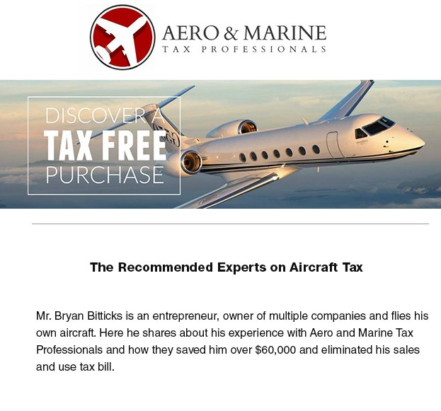 @aeromarinetax Tax Professionals - The Recommended Experts on Aircraft Tax - #bizjet #bizav Read more at  http:// ow.ly/urCY30fZZOd  &nbsp;  <br>http://pic.twitter.com/BWHyOaVIKa